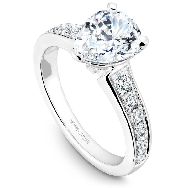 White Gold Engagement Ring With 14 Diamonds. Image 2  ,