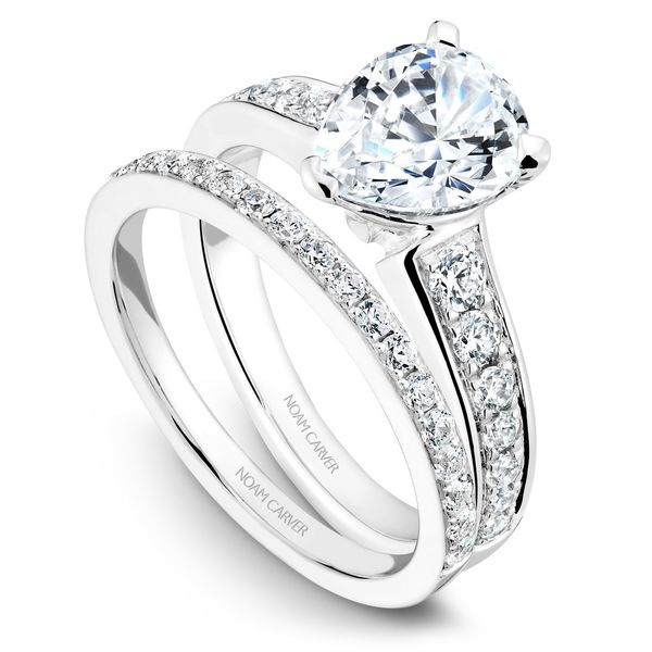 White Gold Engagement Ring With 14 Diamonds. Image 3  ,