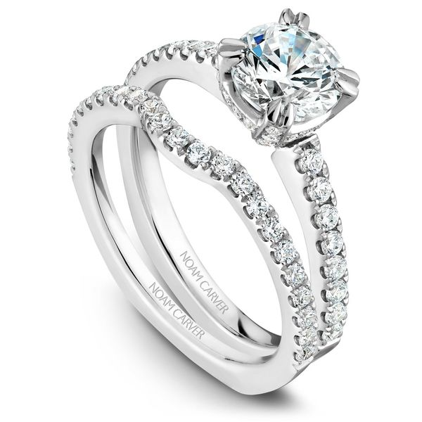 White Gold Engagement Ring With 52 Diamonds. Image 3  ,