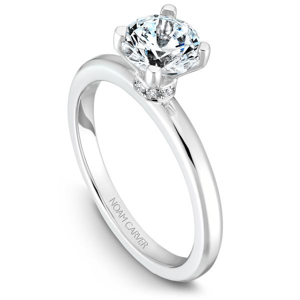 White Gold Engagement Ring With 8 Diamonds. Image 2  ,