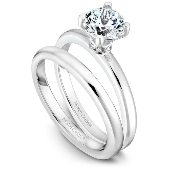 White Gold Engagement Ring With 8 Diamonds. Image 3  ,