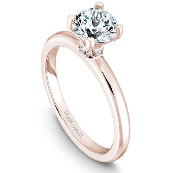 Rose Gold Engagement Ring With 8 Diamonds. Image 2  ,