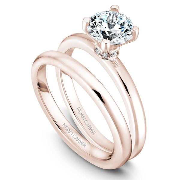 Rose Gold Engagement Ring With 8 Diamonds. Image 3  ,
