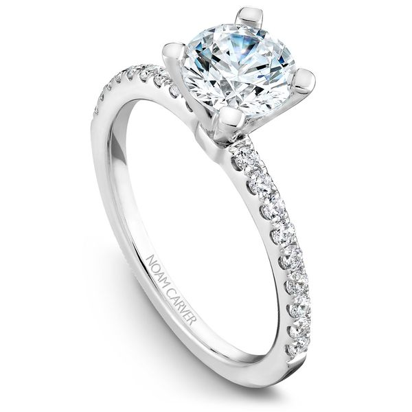 White Gold Engagement Ring With 18 Diamonds. Image 2  ,