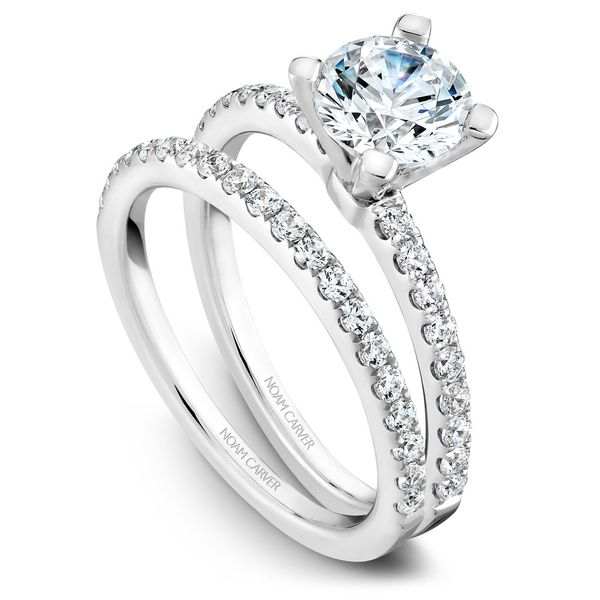 White Gold Engagement Ring With 18 Diamonds. Image 3  ,