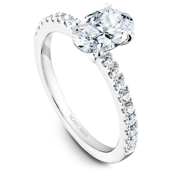 White Gold Engagement Ring With An Oval Centerpiece And 18 Diamonds. Image 2 Barron's Fine Jewelry Snellville, GA