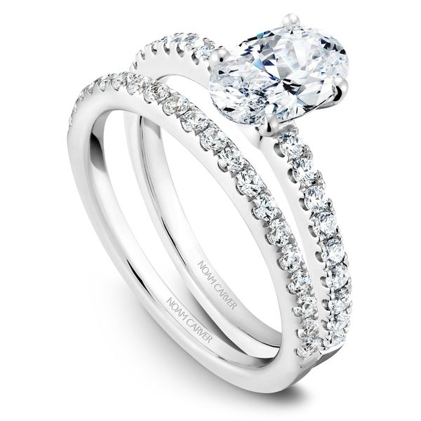White Gold Engagement Ring With An Oval Centerpiece And 18 Diamonds. Image 3 Barron's Fine Jewelry Snellville, GA