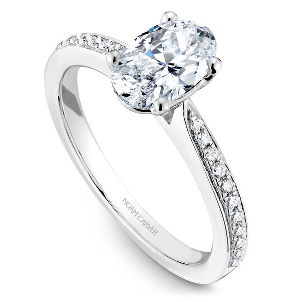 White Gold Engagement Ring With An Oval Centerpiece And 22 Diamonds. Image 2  ,