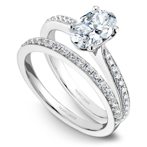 White Gold Engagement Ring With An Oval Centerpiece And 22 Diamonds. Image 3  ,
