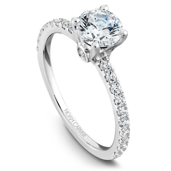 White Gold Engagement Ring With 22 Diamonds. Image 4  ,