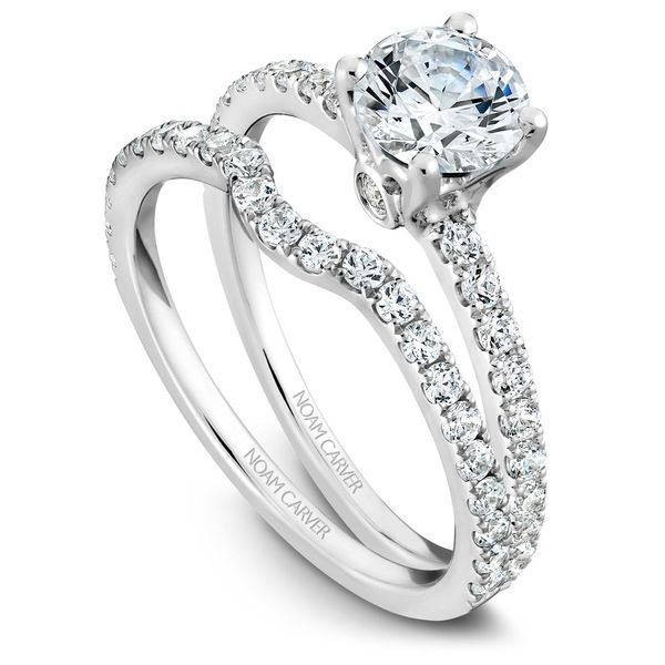 White Gold Engagement Ring With 22 Diamonds. Image 3  ,