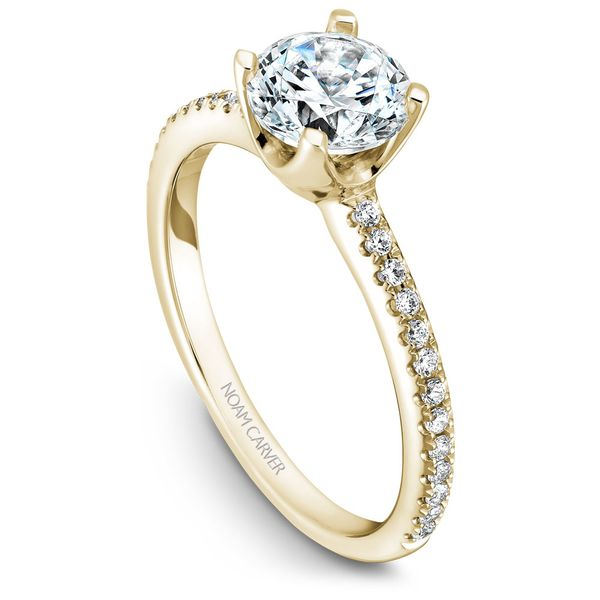 Yellow Gold Engagement Ring With 26 Diamonds. Image 2  ,