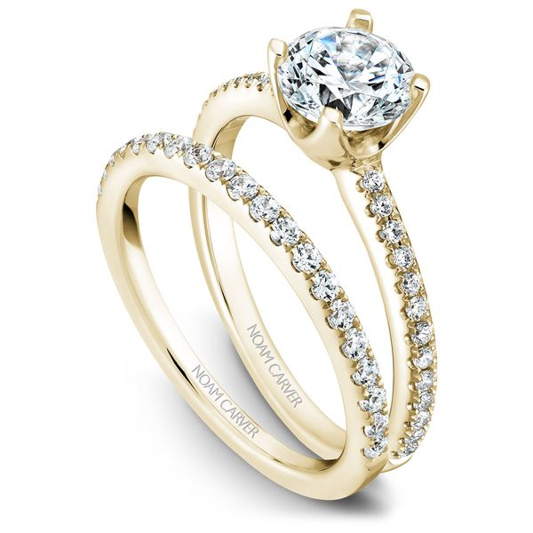 Yellow Gold Engagement Ring With 26 Diamonds. Image 3  ,