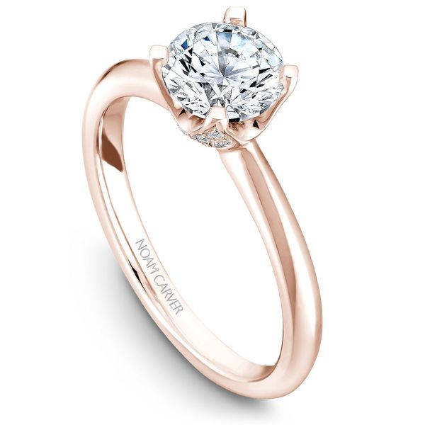 Rose Gold Engagement Ring With A Round Centerpiece And 32 Diamonds. Image 4  ,
