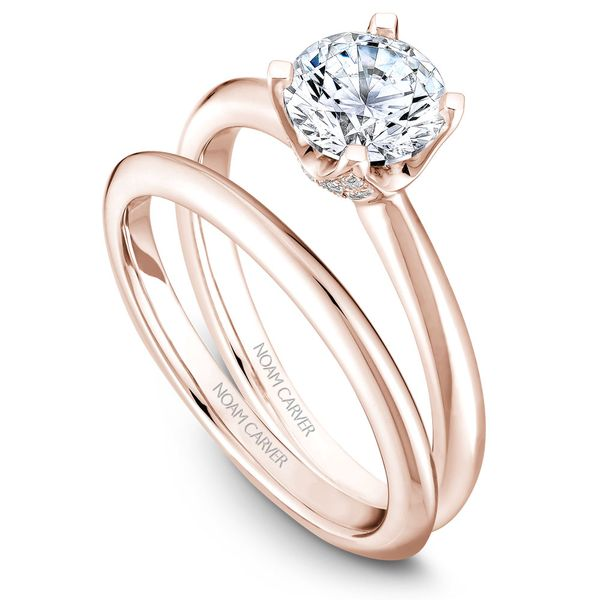 Rose Gold Engagement Ring With A Round Centerpiece And 32 Diamonds. Image 3  ,