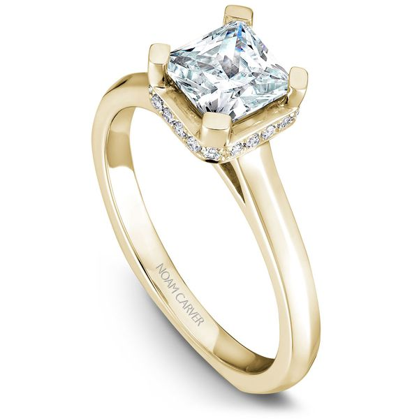 Yellow Gold Engagement Ring With A Princess Cut Centerpiece And 20 Diamonds. Image 2 Barron's Fine Jewelry Snellville, GA