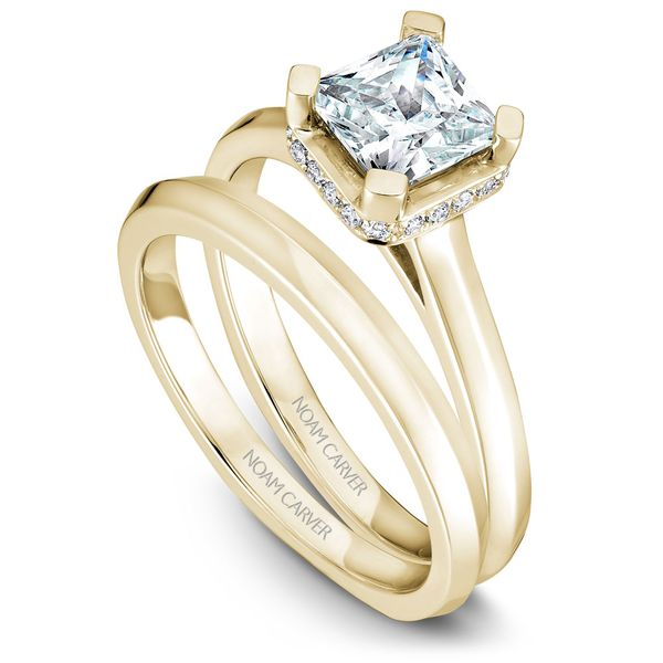 Yellow Gold Engagement Ring With A Princess Cut Centerpiece And 20 Diamonds. Image 3 Barron's Fine Jewelry Snellville, GA