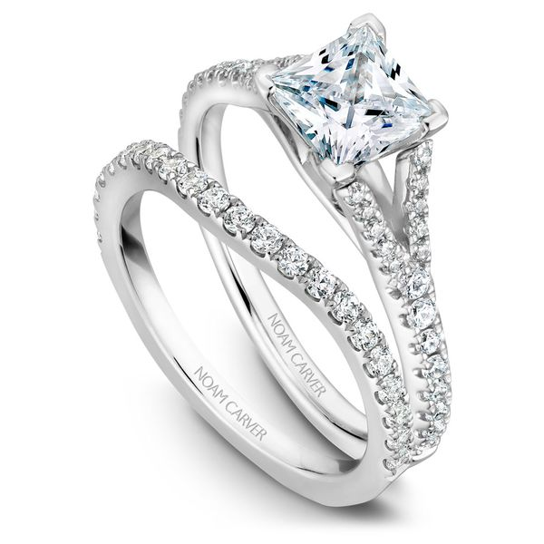 White Gold Engagement Ring With A Princess Cut Centerpiece And 36 Diamonds. Image 3 Barron's Fine Jewelry Snellville, GA
