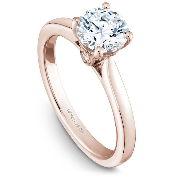 Rose Gold Engagement Ring With 2 Diamonds. Image 2  ,