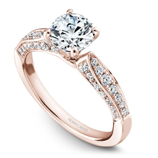 Rose Gold Engagement Ring With 46 Diamonds. Image 2  ,