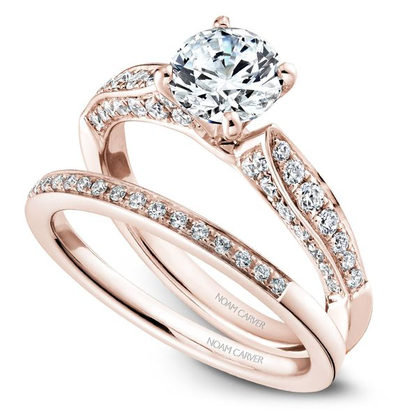 Rose Gold Engagement Ring With 46 Diamonds. Image 3  ,