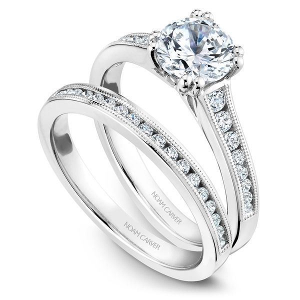 White Gold Engagement Ring With 16 Diamonds. Image 3  ,