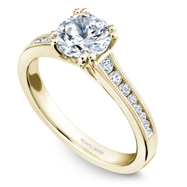 Yellow Gold Engagement Ring With 16 Diamonds. Image 2  ,
