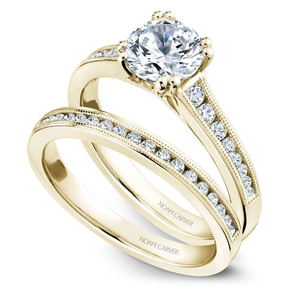 Yellow Gold Engagement Ring With 16 Diamonds. Image 3  ,
