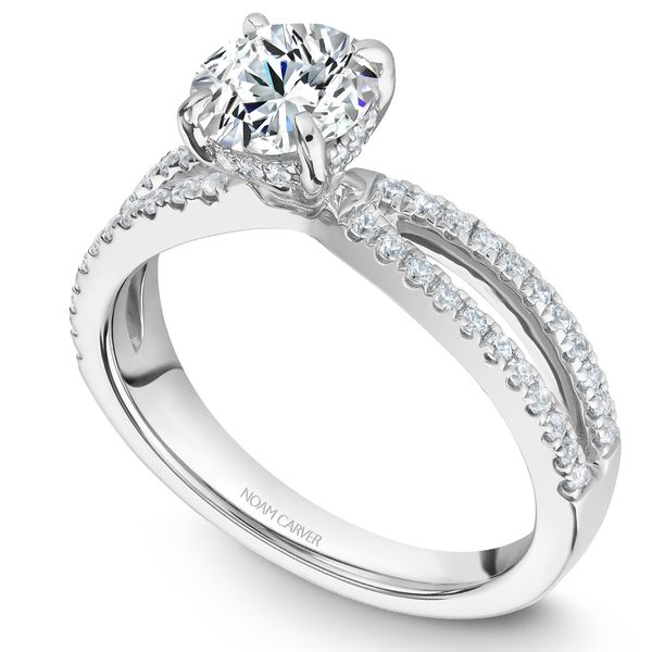 White Gold Engagement Ring With 56 Diamonds. Image 2  ,