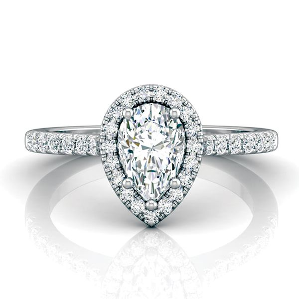 Pear-Shaped Diamond Halo Engagement Ring in White Gold Bremer Jewelry Peoria, IL