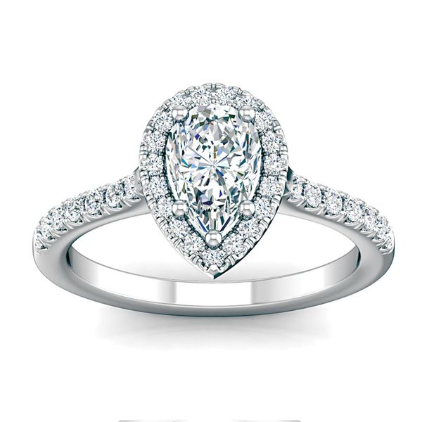 Pear-Shaped Diamond Halo Engagement Ring in White Gold Image 2 Bremer Jewelry Peoria, IL