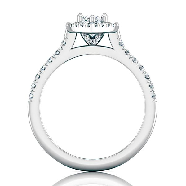 Pear-Shaped Diamond Halo Engagement Ring in White Gold Image 3 Bremer Jewelry Peoria, IL