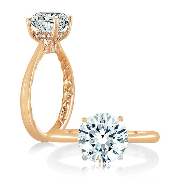 A.JAFFE Quilted Solitaire Engagement Ring Setting in Rose Gold Bremer Jewelry Peoria, IL