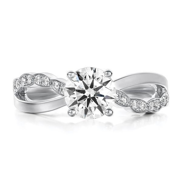 Hearts On Fire Lorelei Floral White Gold Diamond Engagement Ring Setting Bremer Jewelry Peoria, IL