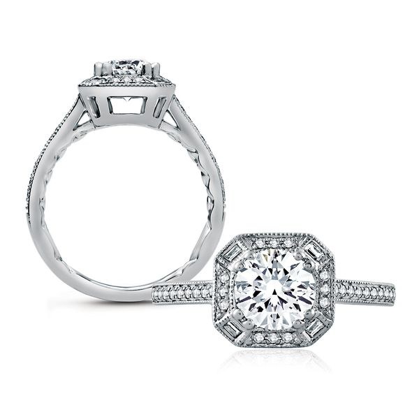 A.JAFFE Art Deco 14k White Gold Engagement Ring Setting Bremer Jewelry Peoria, IL