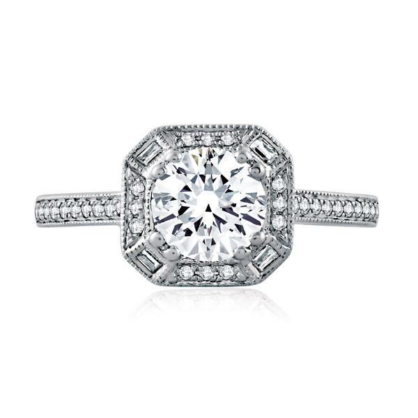 A.JAFFE Art Deco 14k White Gold Engagement Ring Setting Image 2 Bremer Jewelry Peoria, IL