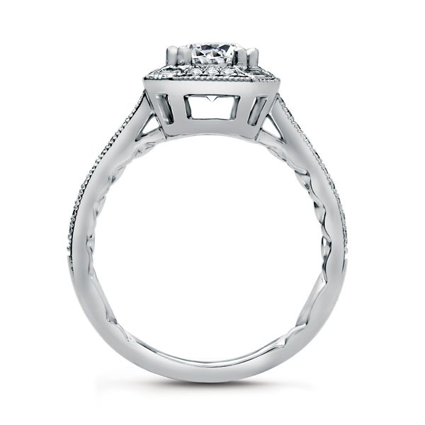 A.JAFFE Art Deco 14k White Gold Engagement Ring Setting Image 3 Bremer Jewelry Peoria, IL