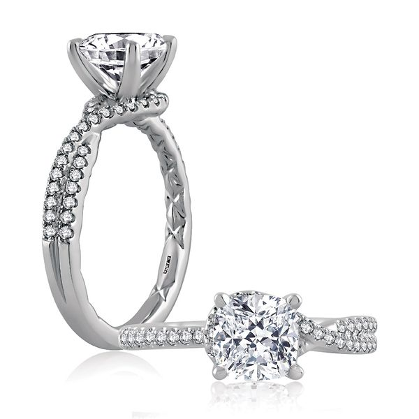 A.JAFFE Seasons Of Love 14k White Gold Engagement Ring Setting Bremer Jewelry Peoria, IL