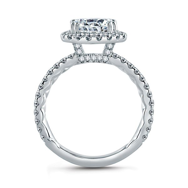 A.JAFFE Classics 14k White Gold Engagement Ring Setting Image 3 Bremer Jewelry Peoria, IL