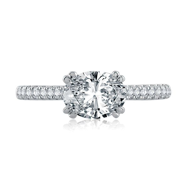A.JAFFE Classics 14k White Gold Engagement Ring Setting Image 2 Bremer Jewelry Peoria, IL