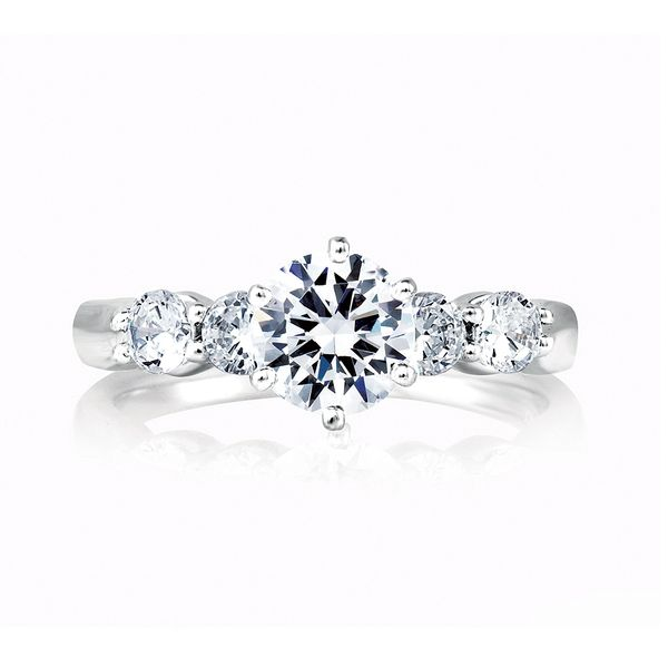 A.JAFFE Classics 14k White Gold Diamond Engagement Ring Setting Image 2 Bremer Jewelry Peoria, IL