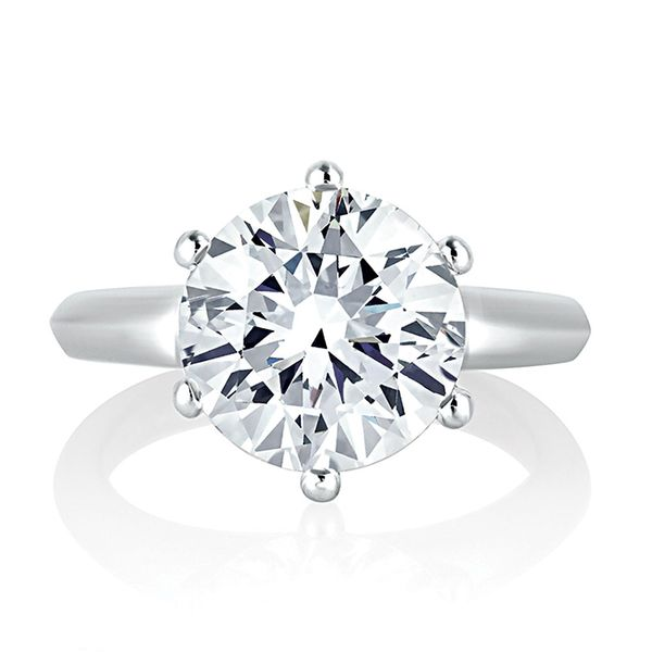 A.JAFFE Knife Edge Solitaire Engagement Ring Setting in White Gold Bremer Jewelry Peoria, IL
