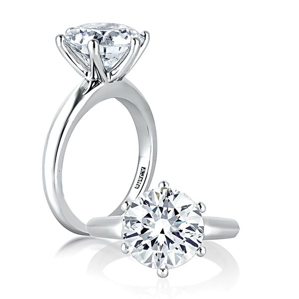 A.JAFFE Knife Edge Solitaire Engagement Ring Setting in White Gold Image 3 Bremer Jewelry Peoria, IL