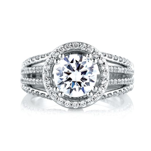 A.JAFFE Metropolitan 14k White Gold Diamond Engagement Ring Setting Image 2 Bremer Jewelry Peoria, IL
