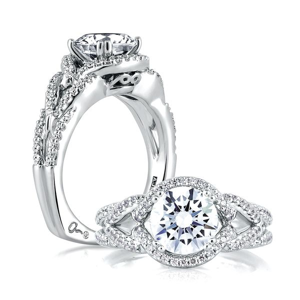 A.JAFFE Art Deco 14k White Gold Diamond Engagement Ring Setting Bremer Jewelry Peoria, IL