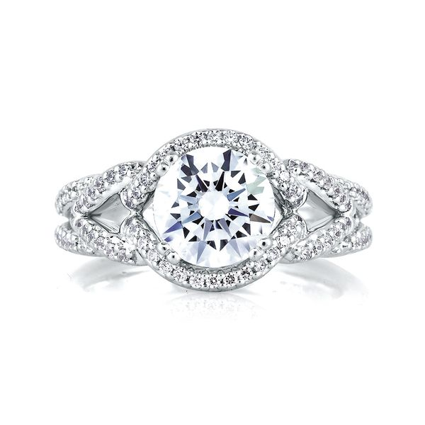 A.JAFFE Art Deco 14k White Gold Diamond Engagement Ring Setting Image 2 Bremer Jewelry Peoria, IL