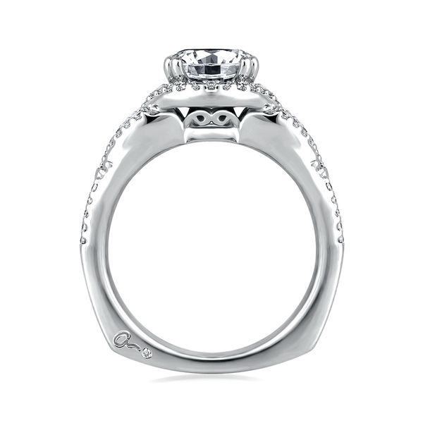 A.JAFFE Art Deco 14k White Gold Diamond Engagement Ring Setting Image 3 Bremer Jewelry Peoria, IL
