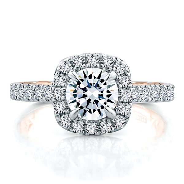 A. Jaffe Modern Royals Cushion Halo Engagement Ring Setting in White and Rose Gold Bremer Jewelry Peoria, IL