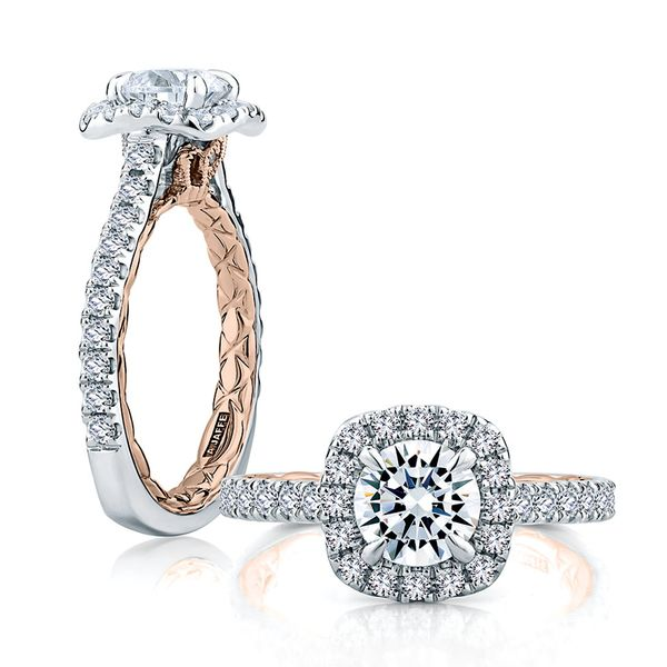A. Jaffe Modern Royals Cushion Halo Engagement Ring Setting in White and Rose Gold Image 3 Bremer Jewelry Peoria, IL