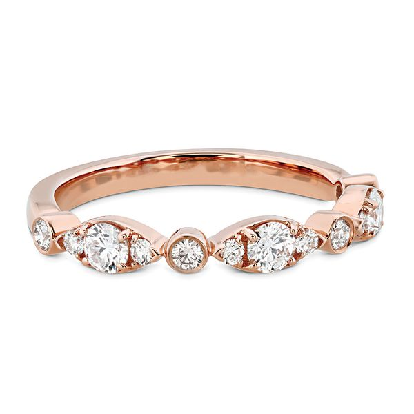Hearts On Fire Bezel Regal Diamond Wedding Ring in Rose Gold Image 2 Bremer Jewelry Peoria, IL